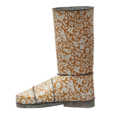 Decorative Metal Garden Boot with Floral Pattern, Mustard Color & White