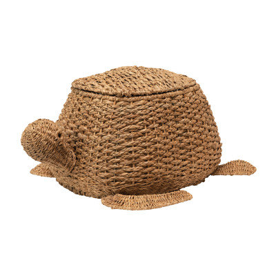 Hand-Woven Bankuan Sea Turtle Basket with Lid, Natural