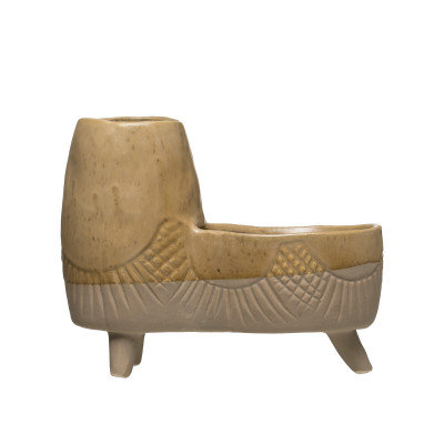 """8""""L Footed Stoneware Double Planter"""