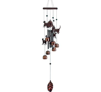 "26"" Bronze Cats Wind Chimes"