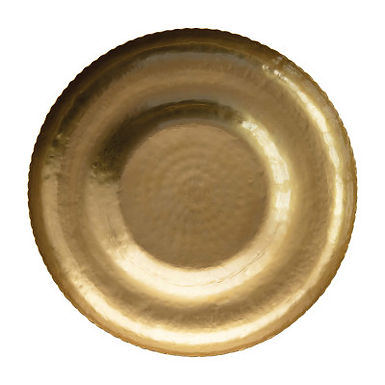 Decorative Hammered Metal Tray with Scalloped Edge, Antique Brass Finish
