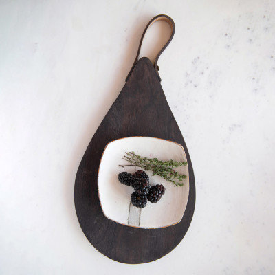 Mango Wood Cheese/Cutting Board with Leather Handle, Espresso Finish