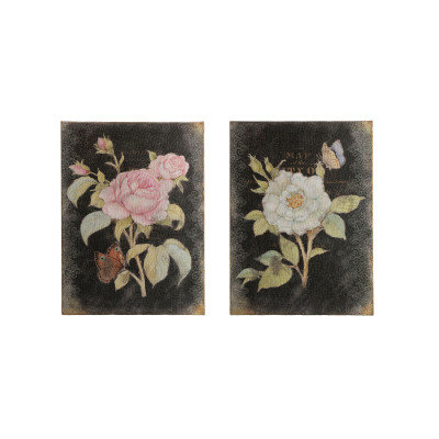 """23.25""""H Rose & Butterfly on Burlap & Wood Wall Decor (Set of 2 Styles)"""