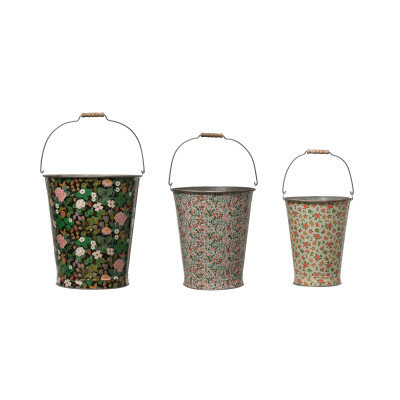Metal Buckets w/Varied Floral Patterns & Handles (qty 3 Sizes/Floral Patterns)