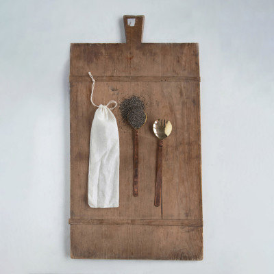 Brass Salad Servers with Copper Handles in Drawstring Bag, Set of 2
