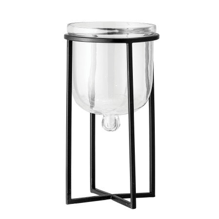 """7.25""""H Glass Planter/Candleholder on 11.75""""H Black Metal Stand (Set of 2 Pieces)"""