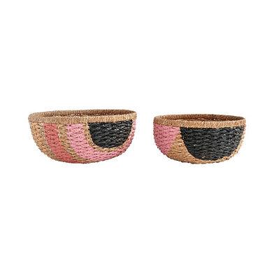 Hand-Painted Pink & Black Bangkuan Braided Baskets (Set of 2 Sizes)