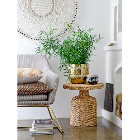 Beige Natural Water Hyacinth Side Table