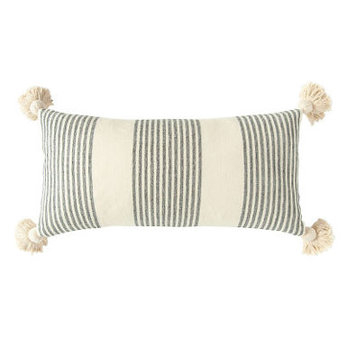Cotton & Chenille Pillow w/Vertical Grey Stripes, Tassels & Solid Cream Back