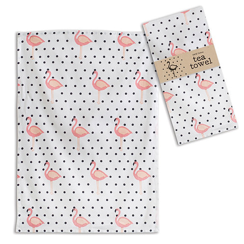 Flamingo Polka-Dot Tea Towel - Box of 4
