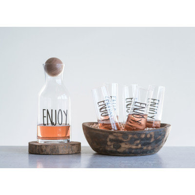 """"""" Enjoy"""" Glass Decanter with Mango Wood Stopper"""