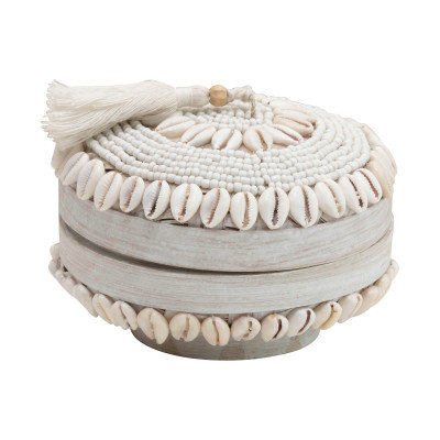 Handmade Shell & Bamboo Container with Lid, White