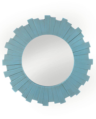 Blue Sunburst Wall Mirror