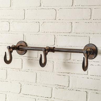 Industrial Three Hook Wall Rack