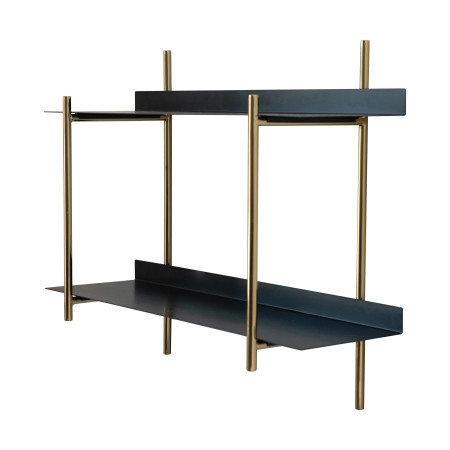 Metal Wall Shelf with 2 Shelves, Black & Gold Finish