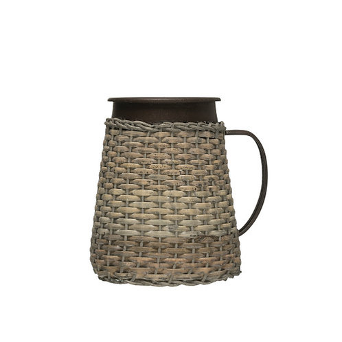 """7""""H Decorative Metal Pitcher with Woven Rattan Sleeve"""