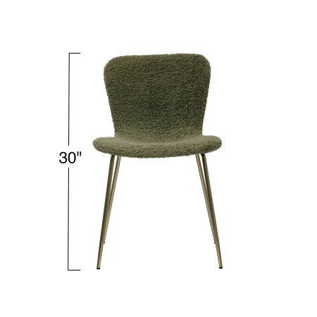 Boucle Fabric Upholstered Chair w/ Gold Zipper on Back & Metal Legs, Sage Color
