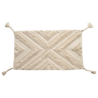 """22"""" x 36"""" Woven Cotton Patterned Rug with Braided Tassels"""