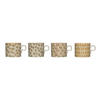 12 oz. Stoneware Mug (Set of 4 Hand-Stamped Patterns)