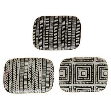 "7-1/2""L x 5-1/2""W Stoneware Plate w/ Pattern & Gold Electroplating, 3 Styles"