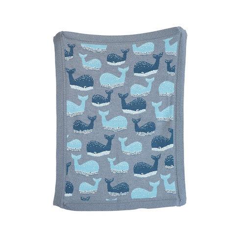 Blue Cotton Knit Whale Blanket