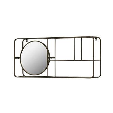 "39.5""W Metal Framed Mirror with 2-Tier Wall Shelf"