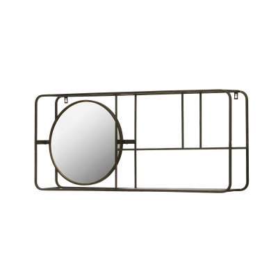"39.5""W Metal Framed Mirror with 2-Tier Wall Shelf"