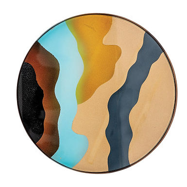 """Decorative 10"""" Round Printed Glass Tray with Abstract Design & Metal Frame"""