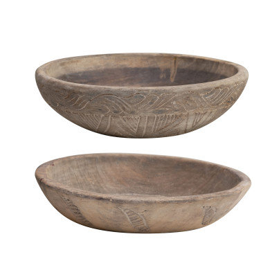 """Apprx. 15"""" Round Found Hand-Carved Wood Bowl Wall Decor (Each Vary)"""