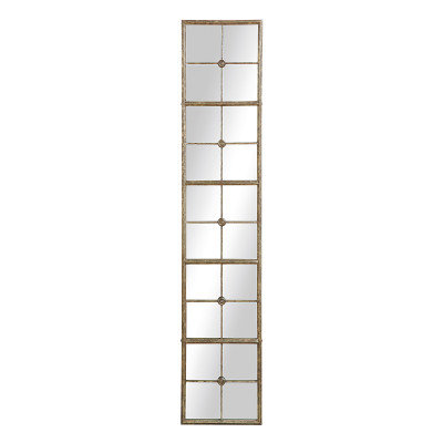 Divided Rectangle Mirror with Distressed Gold Frame