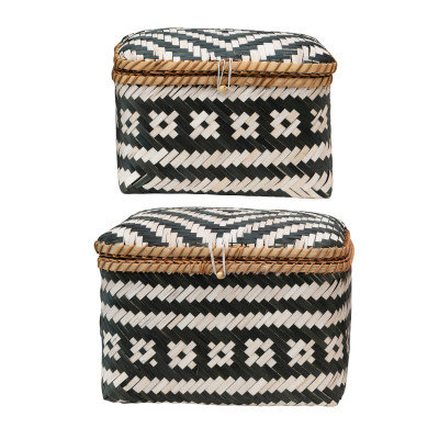 Hand-Woven Bamboo Boxes with Lids & Closures, Black & White, Set of 2