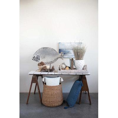 Decorative Rattan Trays with Handles & Whitewashed Finish (Set of 2 Sizes)