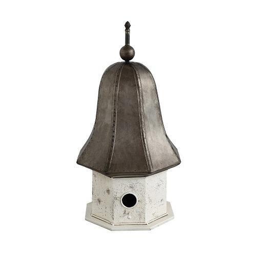 Distressed Cream & Bronze Decorative Metal Birdhouse