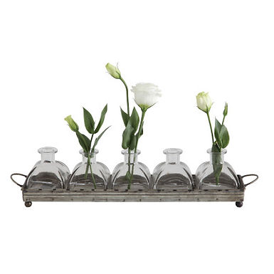 Decorative Iron Rectangle Tray with Handles & 5 Glass Vases (Set of 6 Pieces)