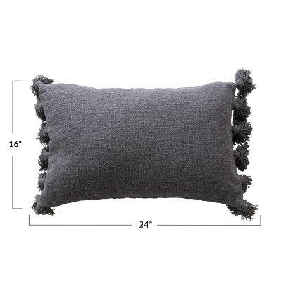 Lumbar Midnight Blue w/Tassels Cotton Slub Pillow