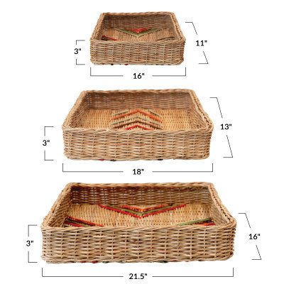 Decorative Hand-Woven Rattan Trays with Stitching, Multi Color, Set of 3