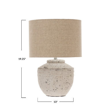 19.25 in Cement Table Lamp with Linen Shade