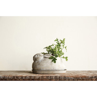 Cement Rabbit Planter with Saucer (Set of 2 Pieces)