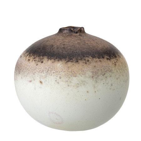 Large Brown, Plum & Cream Stoneware Vase with Reactive Glaze Finish