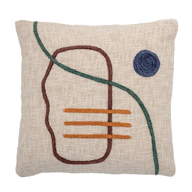 Cream Square Cotton Embroidered Pillow with Abstract Embroidery