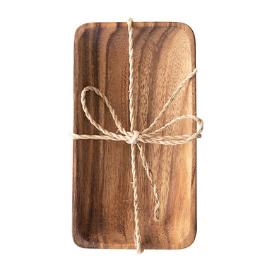 Acacia Wood Trays with Seagrass Tie, Set of 4