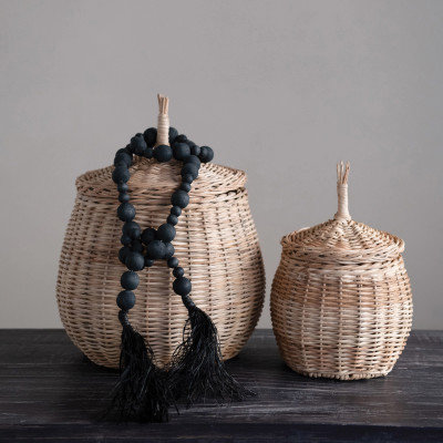Hand-Woven Wicker Baskets with Lids, Set of 2