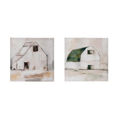 "18"" Square Hand-Painted Canvas Wall Decor w/ Barn, 2 Styles �"