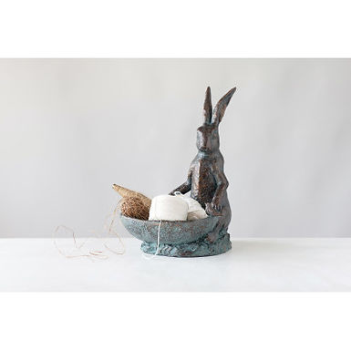 Decorative Resin Rabbit Bird Bath