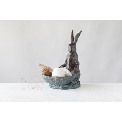 Decorative Resin Rabbit Bird Bath