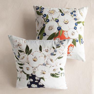 "18"" Square Cotton Pillow w/ Florals & Patterned Back, Multi Color, 2 Styles"