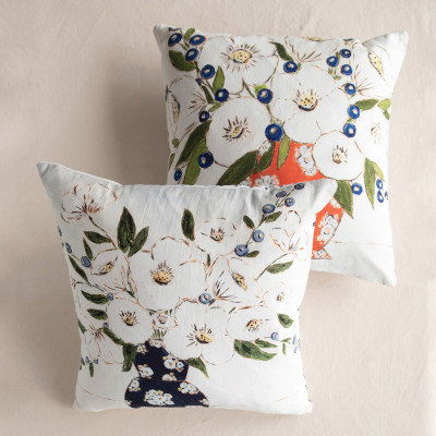 "18"" Square Cotton Pillow w/ Florals & Patterned Back, Multi Color, 2 Styles"