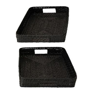 Hand-Woven Decorative Bamboo Black Trays, Set of 2