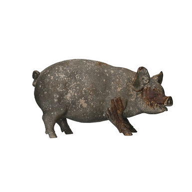 Heavily Distressed Magnesia Pig Figurine