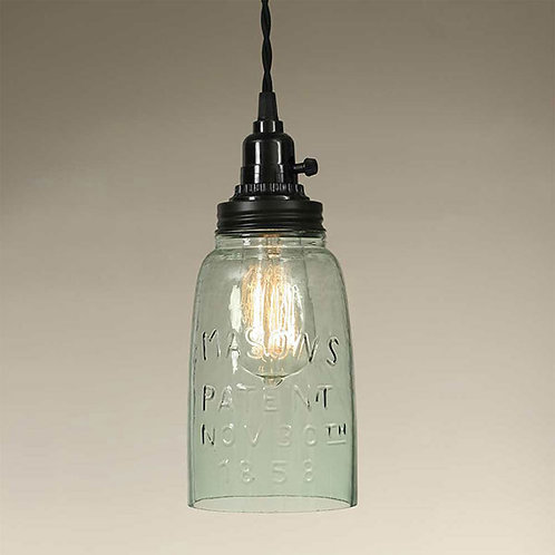 Half Gallon Open Bottom Mason Jar Pendant Lamp - Rustic Brown
